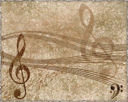 musica clasica: antiguo papel con notas clave y m�sica de viol�n en estilo retro