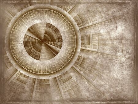 old rough antique parchment paper scroll with project of a mechanism , texture background isolated on white photo