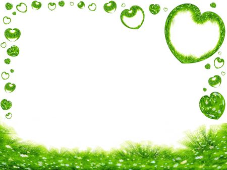 environmental protection: green spring  frame, grass, flowers and hearts on white background