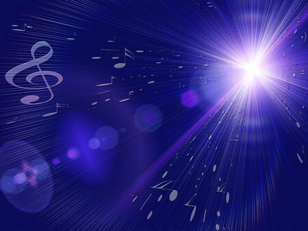 blue musical background with violin key, music notes and rays of light