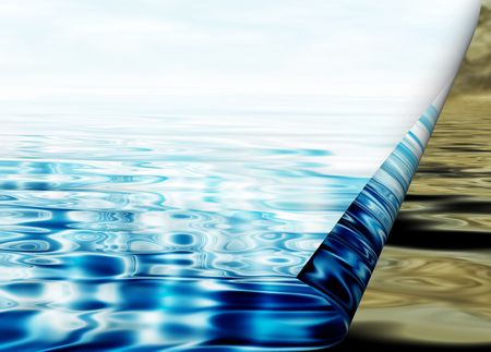 Environmental concept, water protection, clean and polluted water  photo