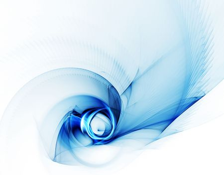 ripple effect: Whirlpool, blue vortex as a metaphor of speed and power on white background Stock Photo