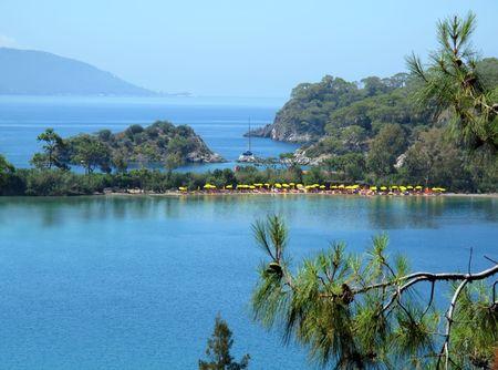 pine trees and sea, Blue Lagoon, Oludeniz, near Fethie, Turkey  Stock Photo