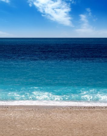 Oludeniz beach in turkey, sunshine, sand and waves