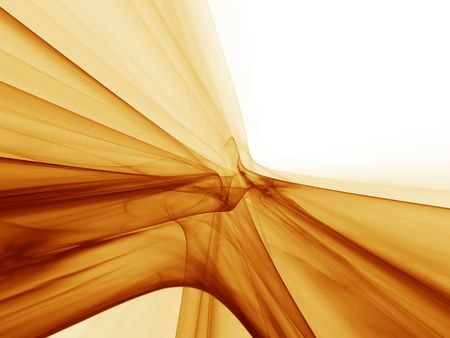 Dynamic golden motion, abstract illustration of flowing energy, wavy lines on white background