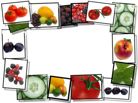 Healthy food concept, film plates with fresh food images frame on white background Stock Photo - 7676439