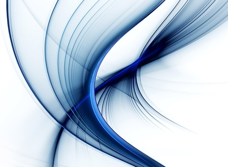 Abstract illustration, dynamic blue stream with stripes against white background, corporate business style
