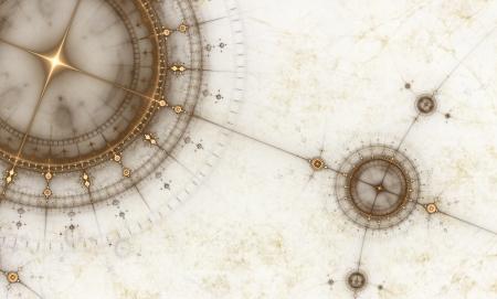 Vecchia mappa con bussola, illustrazione astratta di antica carta nautica,
