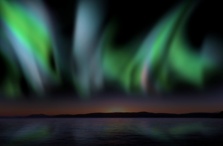 arctic landscape: Twilight sky with  Aurora Borealis reflecting in the water, illustration