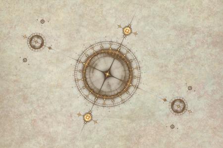 コンパス、古代の海図の抽象的なイラストと古い羊皮紙の地図