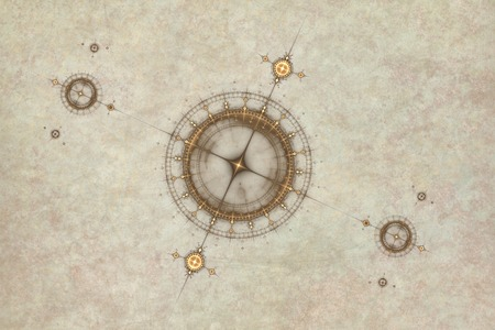 old compass: Old parchment map with compass, abstract illustration of ancient nautical chart Stock Photo