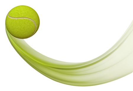throw up: Green tennis ball in motion, illustration on white background