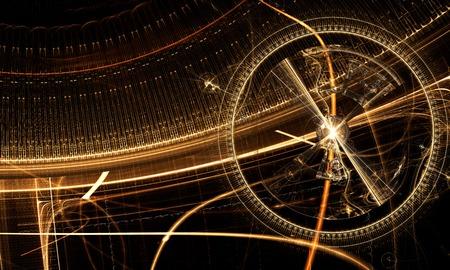 Alte Uhren-Mechanismus, Zahnräder und Zahnräder auf schwarzem Hintergrund, Fantasie goldenen Uhrwerk, abstrakte Darstellung Standard-Bild - 37680483