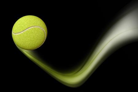 jugando tenis: Pelota de tenis de tomar un rebote, la pelota de tenis verde en movimiento, ilustración sobre fondo negro Foto de archivo