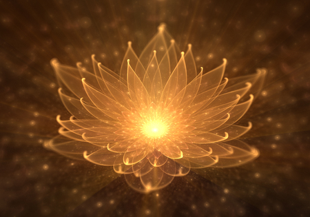 Leuchtender orange Lotos mit Strahlen des Lichtes, der Seerose, der Aufklärung oder der Meditation und des Universums, magische Szene, abstrakte Illustration