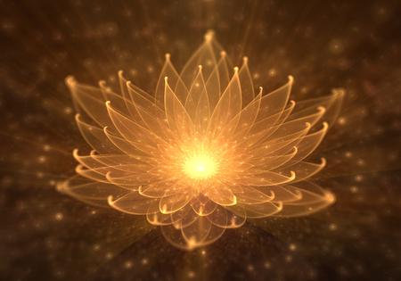 Loto naranja radiante con rayos de luz, nenúfar, iluminación o meditación y universo, escena mágica, ilustración abstracta