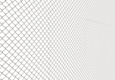 Metal chain link fence on white background, wire fence, metal net in perspective, illustration