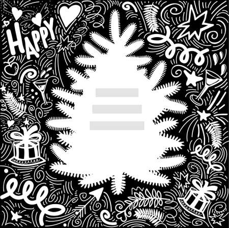 Happy New Year greeting card with Christmas Elements and Symbols. Chalkboard Frame for congratulations with the silhouette of tree and place for your text. Chalk Drawing. Vector Illustration.