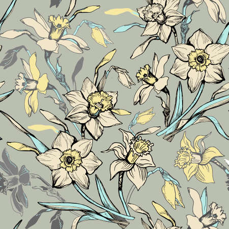 Vintage botanical seamless pattern with hand drawn flowers daffodils, narcissus on light background. For wallpaper, interior and home fabric, textile design. Vector Illustration Ilustracja