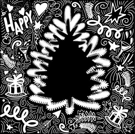Christmas greeting card with New Year Elements and Symbols. Chalkboard Frame for congratulations with the silhouette of tree and place for your text. Chalk Drawing. Vector Illustration.  イラスト・ベクター素材