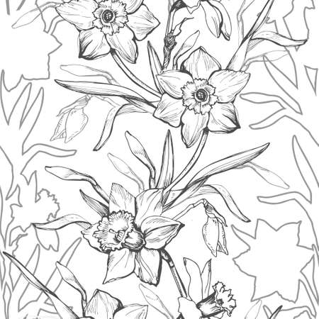 Floral graphic seamless pattern with hand drawn flowers daffodils, narcissus. Black and white elements on light background. Design for textile, fabric, wallpaper, packaging. Vector Illustration Illustration