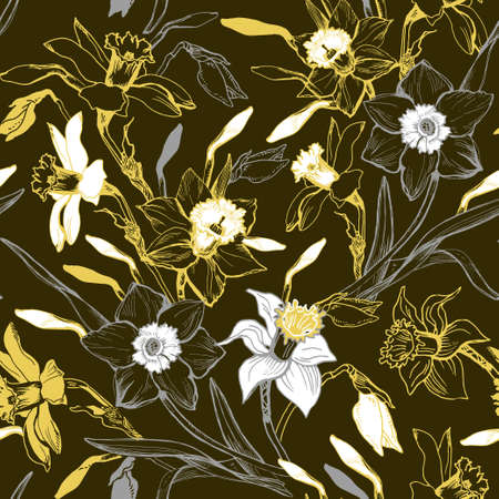 Monocrome seamless pattern with hand drawn manual graphic flowers daffodils. Elegant floral realistic sketch on darc background. Design for textile, fabric, wallpaper, packaging. Vector Illustration