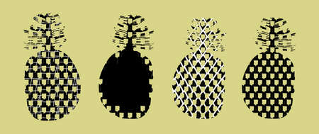 Set of stylized silhouettes of pineapple fruits in doodle style isolated on beige. Tropical Doodling Collection. Perfect for design print banners, posters, pages, baby clothes and t-shirts. Ilustrace