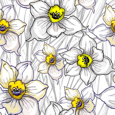 Monochrome floral seamless pattern with hand drawn flowers Daffodils, Narcissus on white background. For create floristic design, wedding card, wallpaper, fabrics, home textile, clothes.  イラスト・ベクター素材