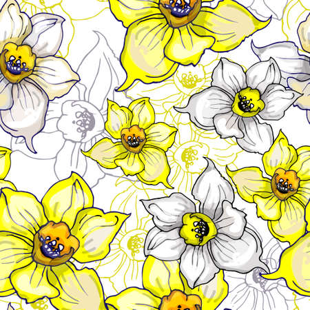 Botanical seamless pattern with flowers of Narcissus, Daffodils, jonquil. Hand drawn colorful sketch. Template for textile floral design. Vector illustration.