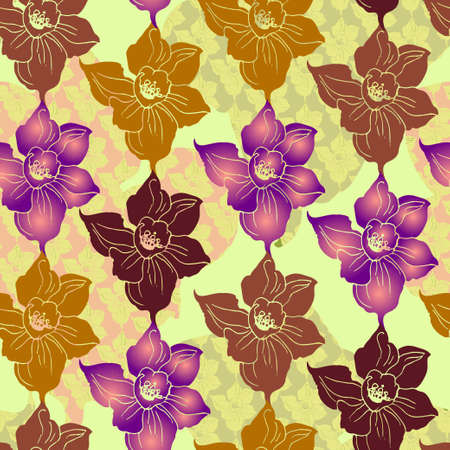 Ornamental floral printed seamless pattern in patchwork style with silhouettes of flowers. Texsture manual colorful graphic for fabric, wallpaper, textile, wrapping paper, print.