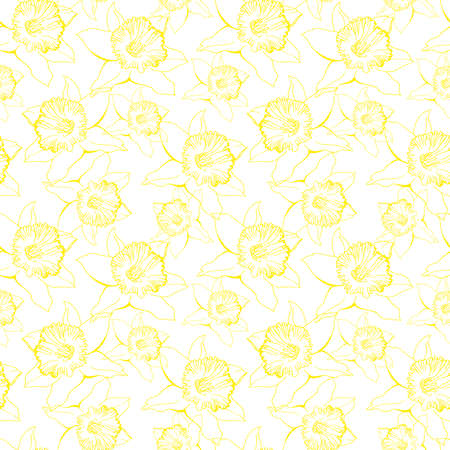 Light botanical seamless pattern with yellow contour of hand drawn flowers Narcissus, Daffodils. Realistic outline sketch on white background. Design for textile, fabric, wallpaper, packaging.