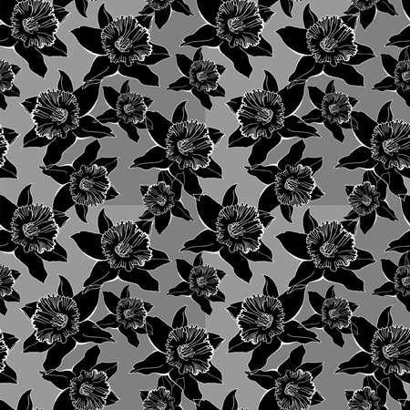 Monochrome botanical seamless pattern with outline of flowers Narcissus, Daffodils. Realistic hand drawn sketch on grey background. Design for textile, fabric, wallpaper, packaging. Ilustracja