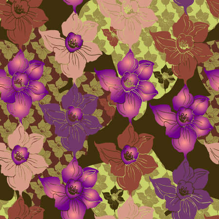 Ornamental floral printed seamless pattern with patchwork effect design. Texsture manual colorful graphic for fabric, wallpaper, textile, wrapping paper, print. Vector illustration.