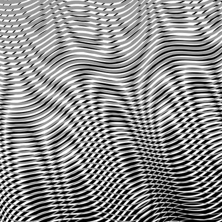 Calm moire effect vector background. Wave Optical Illusion. Grey Lines Blending. Clear linear template for web and graphic design.