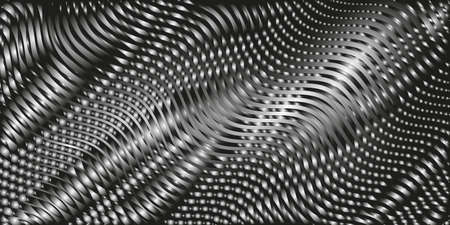 Dark monochrome modern abstract gradient creative backdrop with variable width stripes. Twisted stripes optical illusion. Moire waves.