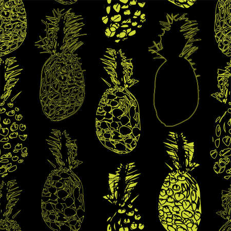 Seamless pattern with freehand drawn sketch jungle in doodle style. Tropical doodle collection. Perfect for baby textile, wallpaper, wrapping paper, menu, cover, note book, website background.