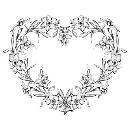 Ornamental black and white floral border in contour form of heart Isolated on white. Black and white manual graphic. For floral design, greeting cards, wedding invitation, valentines.