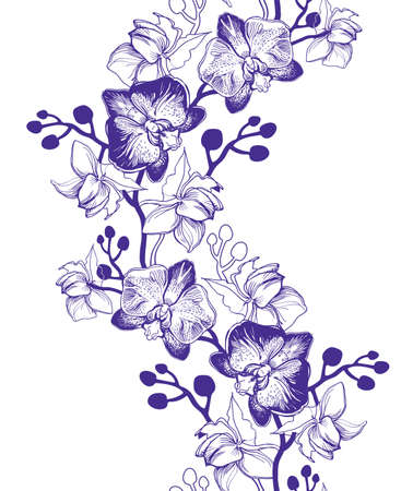 Floral vertical seamless border with hand drawn tropical flowers Orchids, Phalaenopsis. Perfect for floristic design, greeting cards, posters, banners, textile, wedding invitation, wallpaper.