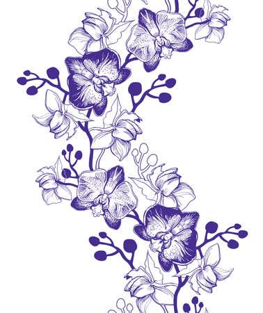 Floral vertikale nahtlose Grenze mit handgezeichneten tropischen Blumen Orchideen, Phalaenopsis. Perfekt für floristisches Design, Grußkarten, Poster, Banner, Textilien, Hochzeitseinladungen, Tapeten.