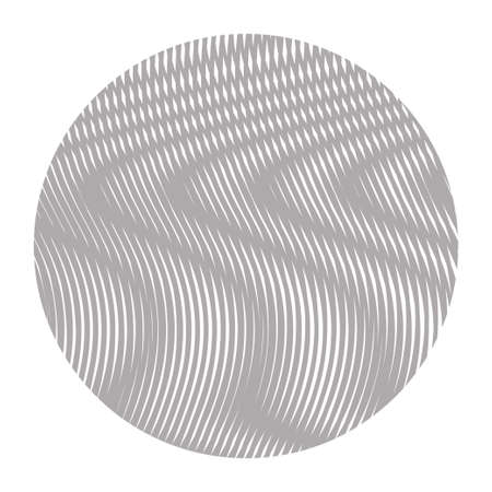 Halftone abstract monochrome vector round form with wavy lines with moire effect and optical illusion isolated on white. Element for design,cover books, websites, accessories for phones, title, image.