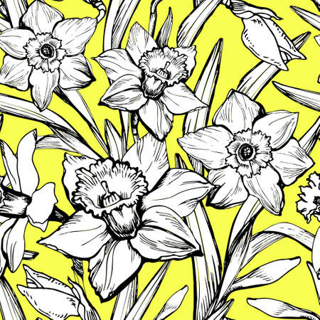 Large white flowers daffodils hand-drawn by black ink on a yellow background. Natural vector seamless pattern with spring flowers narcissus.