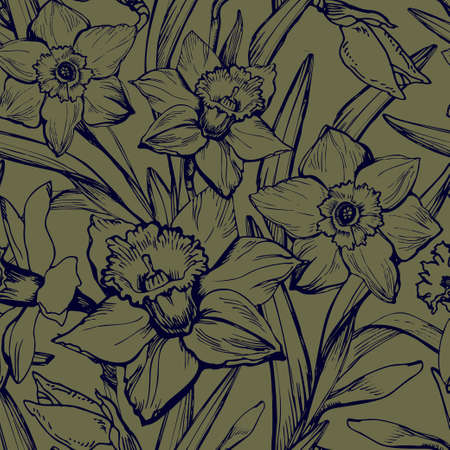 Monochrome floral vintage seamless patten with hand drawn contours of narcissus, daffodils flowers. Elegant seamless floral texture background for wallpaper, fabrics, decor of interior, home textile.