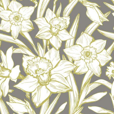 Botanical seamless pattern with blooming garden of hand drawn contours and silhouettes of white flowers daffodils, narcissus. Backdrop with seasonal flowering plants. Ilustracja