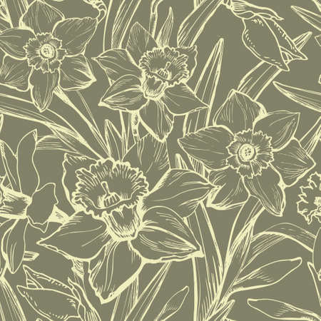 Khaki floral vintage seamless patten with hand drawn contours of flowers narcissus, daffodils. Elegant seamless floral texture background for wallpaper, fabrics, decor of interior, home textile.