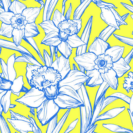 Hand drawn colored floral vintage seamless patten with narcissus, daffodils flowers. Elegant seamless floral texture background for wallpaper, fabrics, decor of interior, home textile, package.