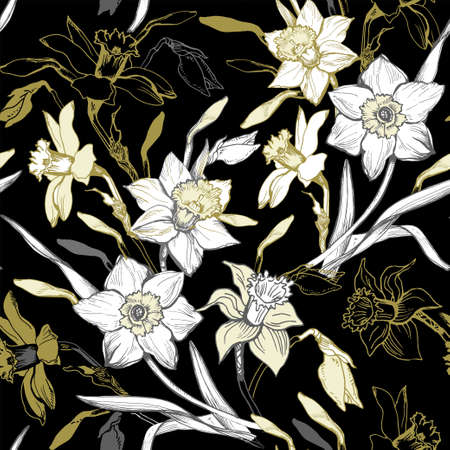 Botanical seamless pattern with spring blooming garden of contours and silhouettes of hand drawn flowers daffodils. Backdrop with seasonal flowering plants. Natural illustration for wallpaper, fabric.