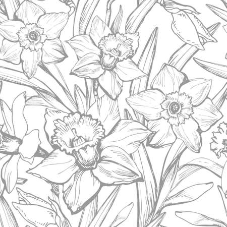 Hand drawn monochrome botanical vintage vector with narcissus, daffodils flowers. Elegant seamless floral texture background for wallpaper, fabrics, decor of interior, home textile, package. Ilustracja