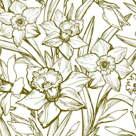 Narcissus flower. Floral botanical monochrome seamless pattern with contours drawing of flowers. Hand Drawn Floristic Elements for textele design, Can be used for fabric, postcard, wallpaper package.