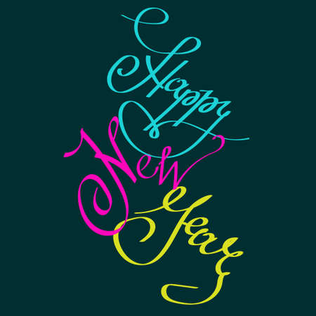 Happy New Year greeting card with lettering calligraphy colored phrase. Isolated element for design on dark background. Perfect for christmas design, invitation card, banner, poster, wrapp ng paper. Ilustrace