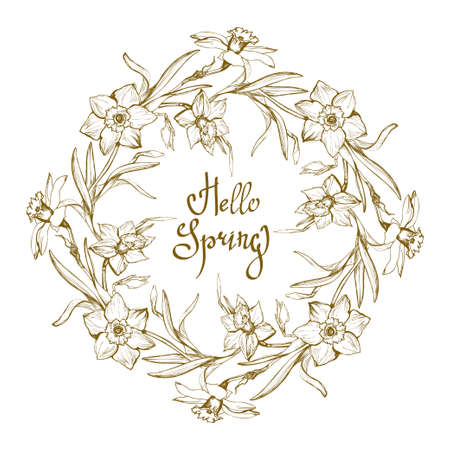 Ornamental floral frame with Hand Drawn flowers Narcissus, Daffodil isolated on white background and handwriting calligraphic phrase Hello Spring. Vector manual illustration.